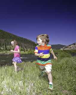 Kids Playing in Yellowstone National Park
